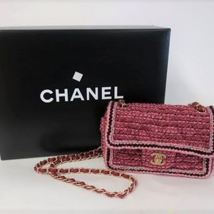 Chanel 18A Quilted Pink Tweed Mini Flap Bag